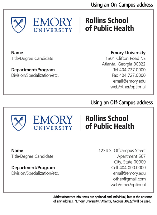 Rollins School Of Public Health Business Cards